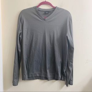 Boss black v-neck gray long sleeve shirt XL